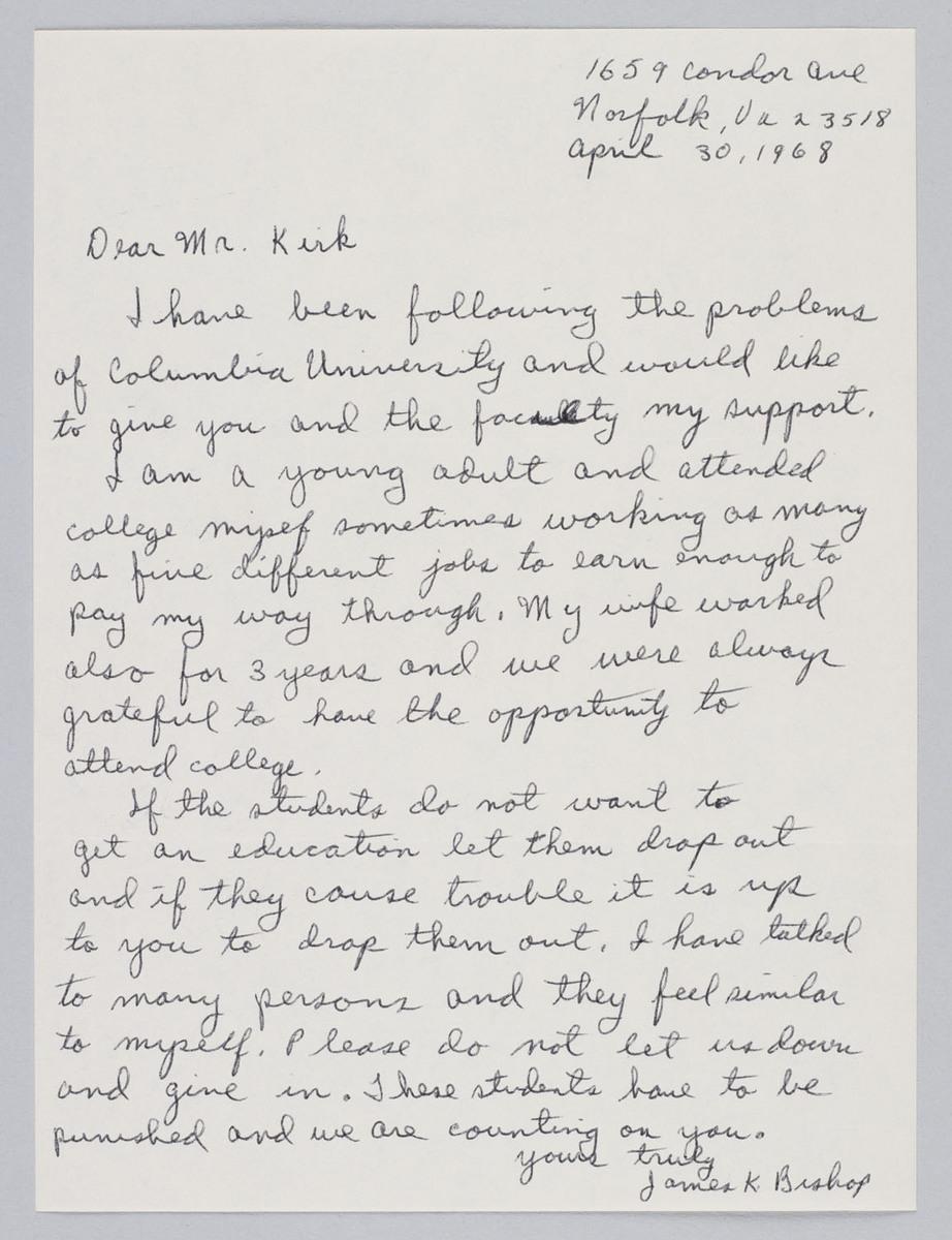 Letter to Kirk from James K. Bishop