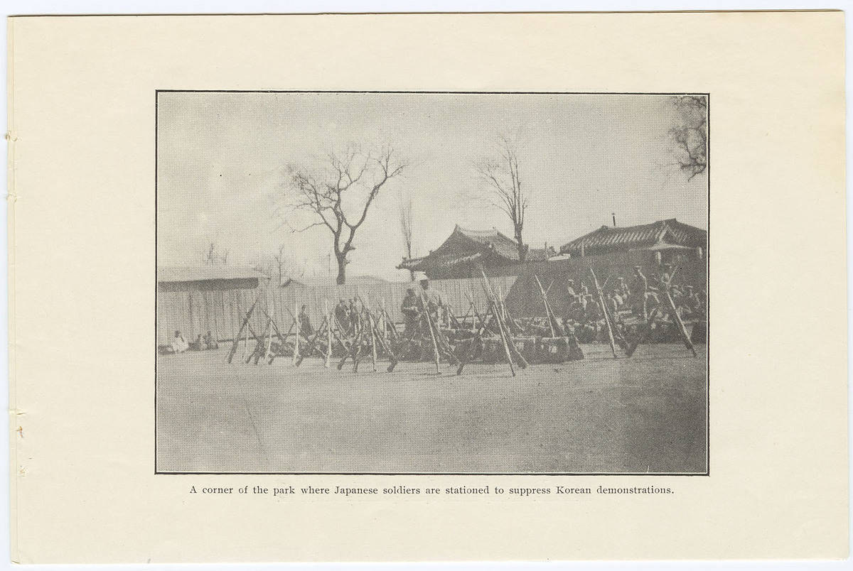 Corner of the park where Japanese soldiers are stationed to suppress Korean demonstrations.