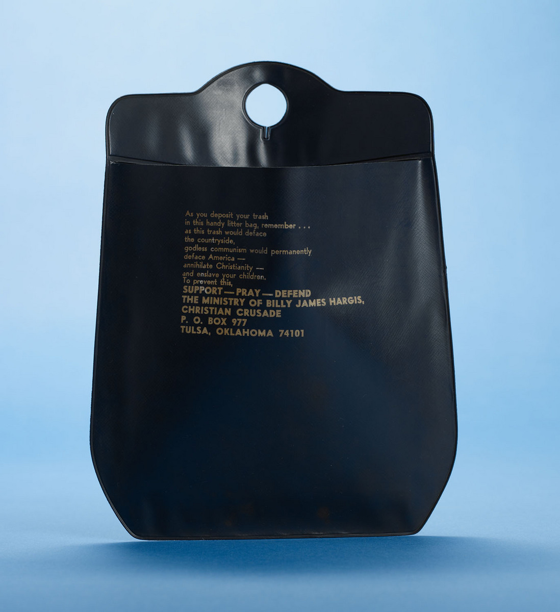 Christian Crusade litter bag, front