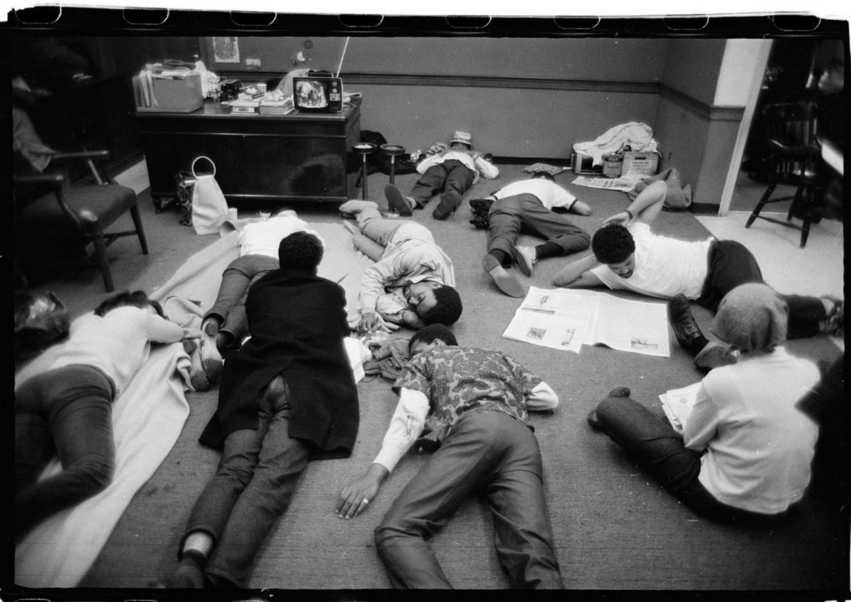 Students inside occupied Hamilton Hall