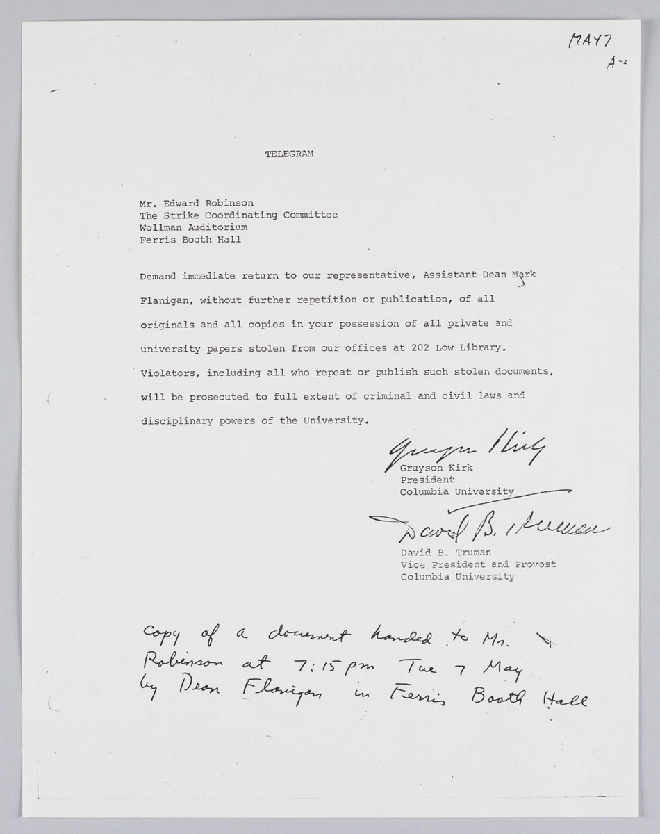 Telegram from Grayson Kirk and David Truman to Edward Robinson of SCC