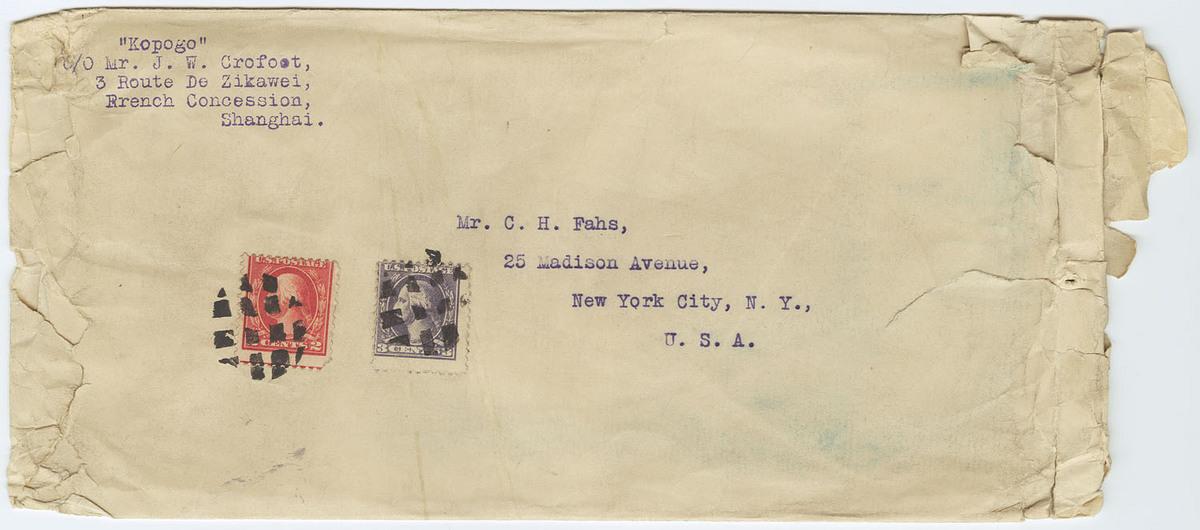 "Addressee: Mr. C. H. Fahs, New York; sender: ""Kopogo"" c/o Mr. J. W. Crofoot, Shanghai."