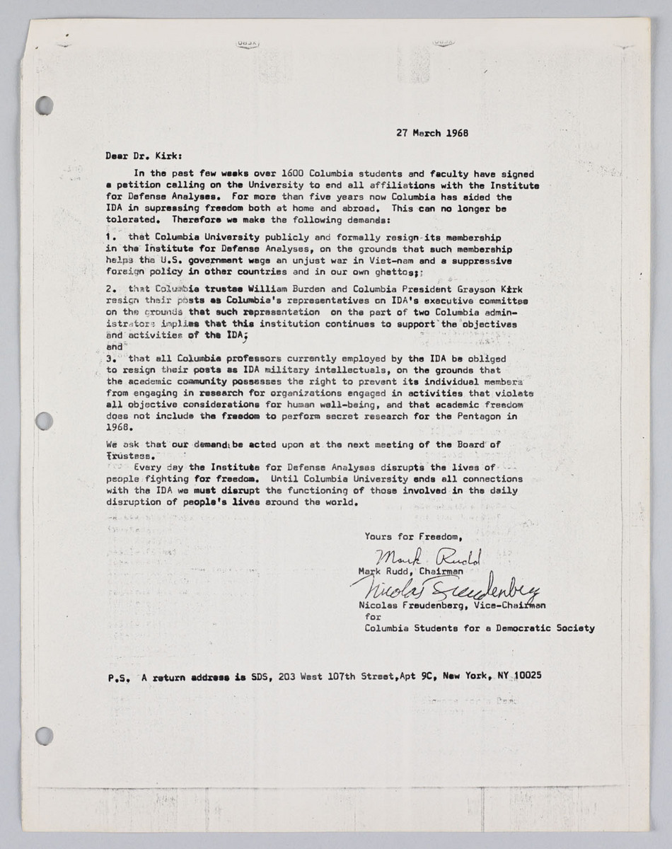 Letter from Rudd and Freudenberg to Kirk (27/3/1968)