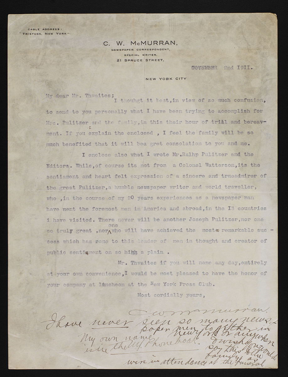 Typed letter, signed, to Mr. Thwaites, enclosing letter to Editors
