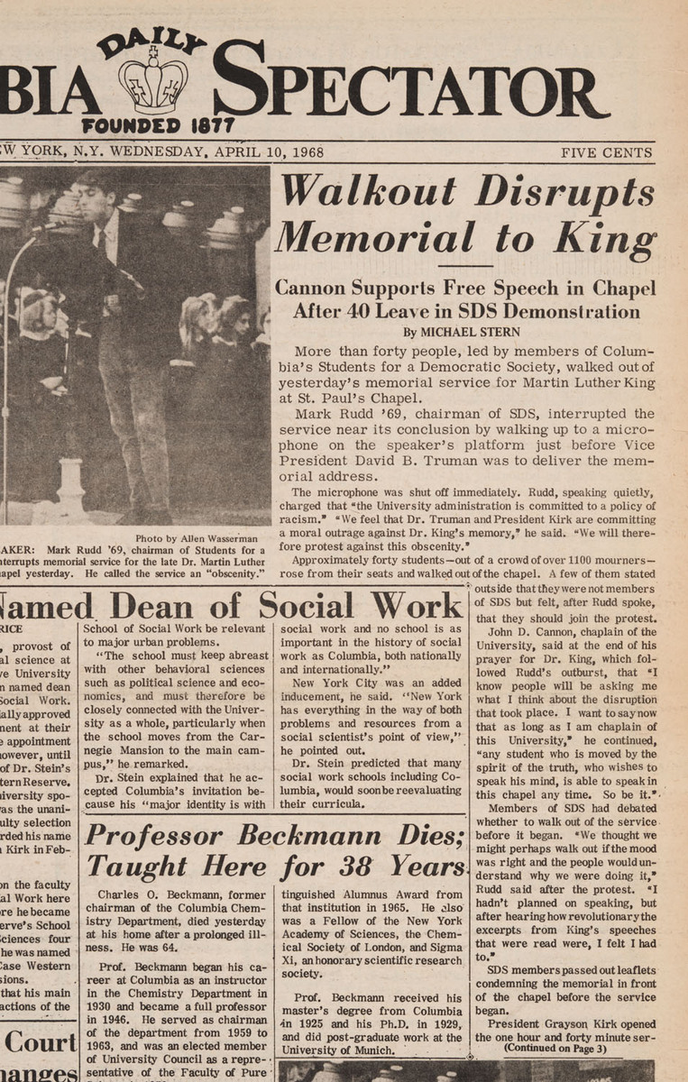"""""""Walkout Disrupts Memorial to King"""" p.1 and p. 3"""