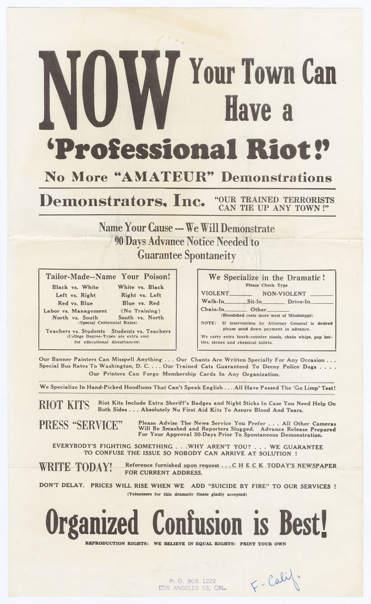 Now Your Town Can Have a 'Professional Riot!', front