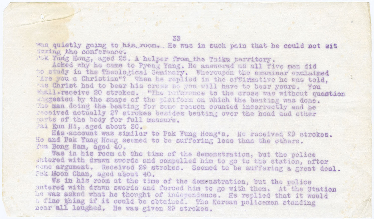 Detailed account of the beating (cont.), (page 33, half page)