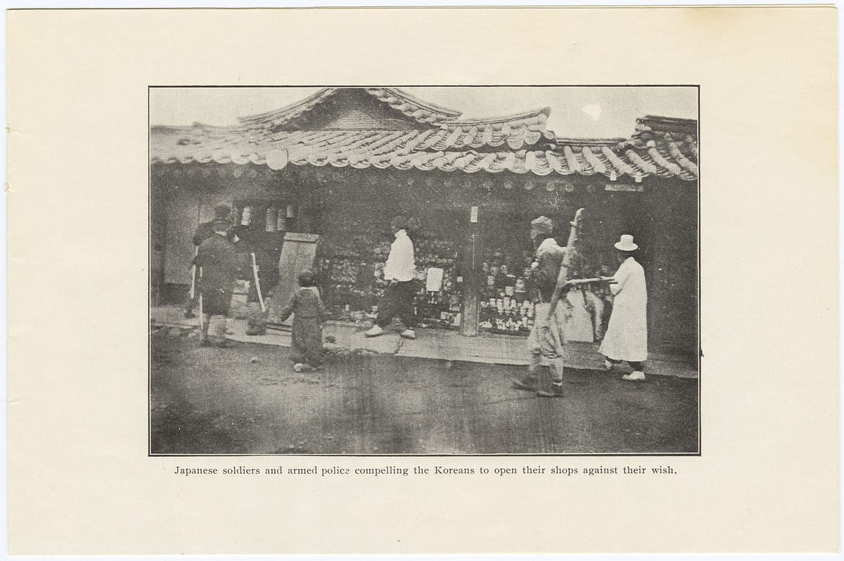 Japanese soldiers and armed police compelling the Koreans to open their shops against their wish.