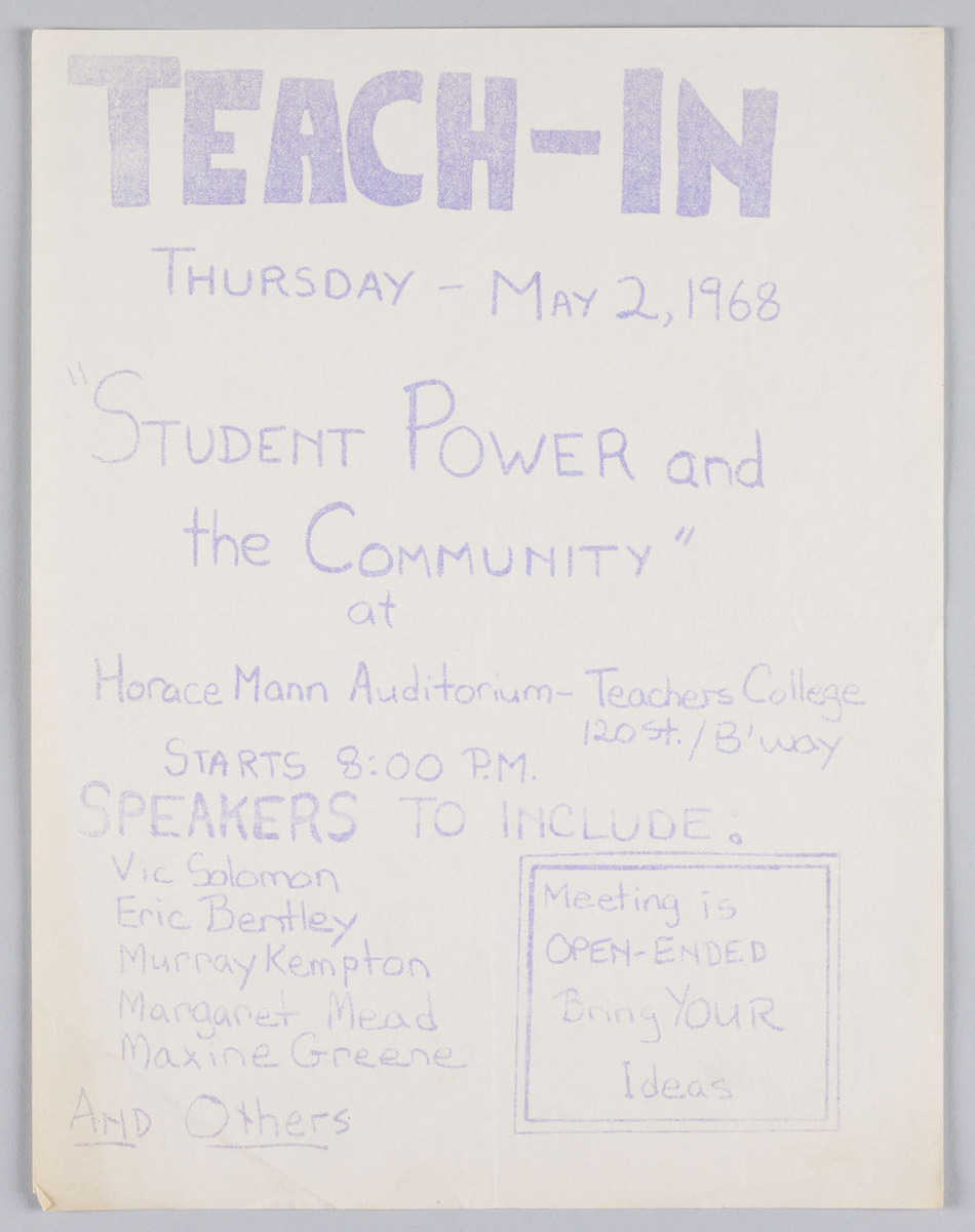 """Teach-in Thursday-May 2, 1968"""
