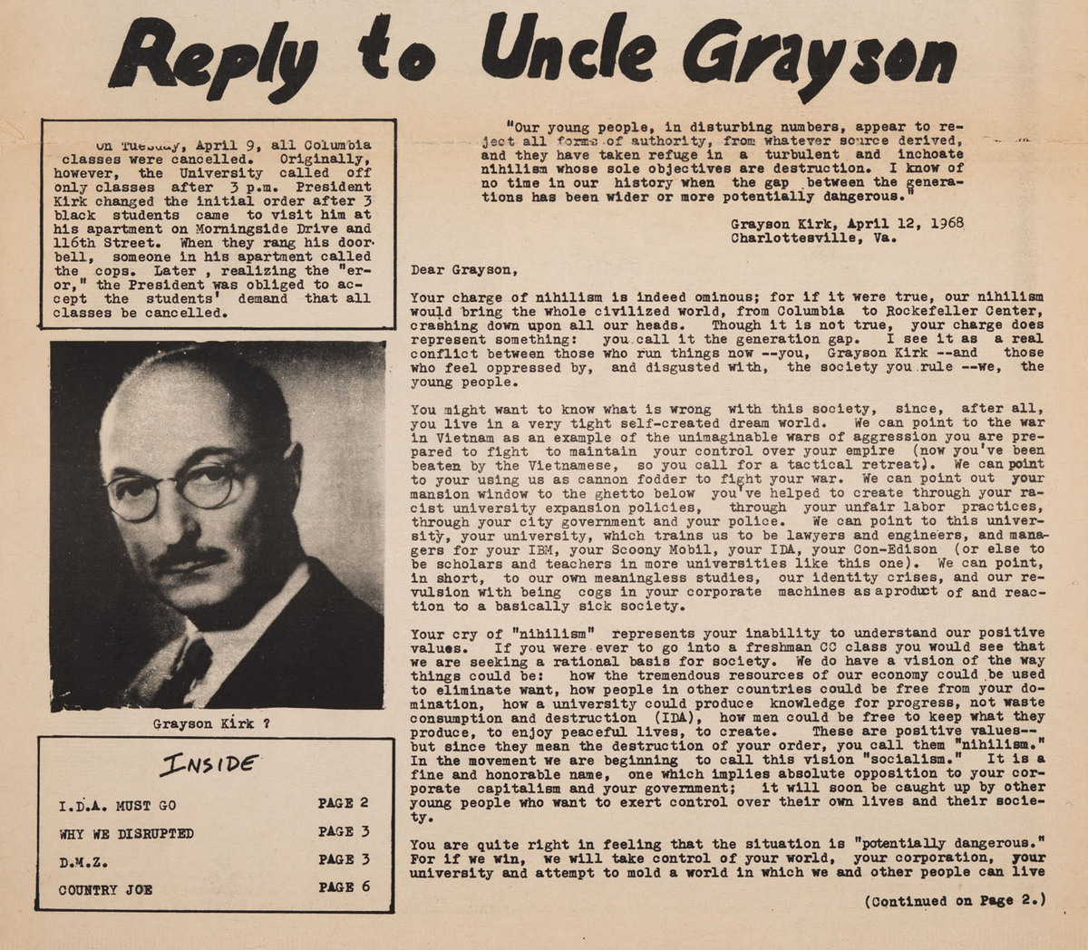 Reply to Uncle Grayson