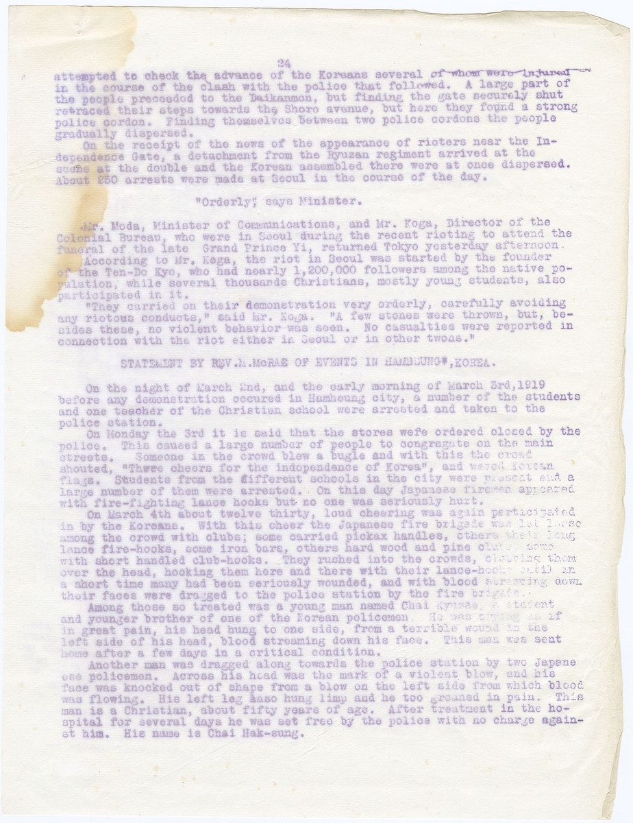 """Seoul uprising in passive resistance (cont.); """"Orderly,"""" says minister; Statement by Rev. M. McRae (Canadian Presbyterian Mission) of events in Hamlung, (page 24)"""