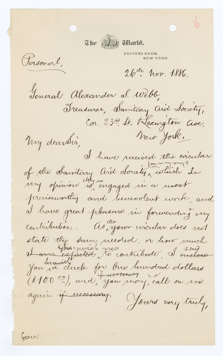 Draft of manuscript letter, with corrections, to Alexander S. Webb