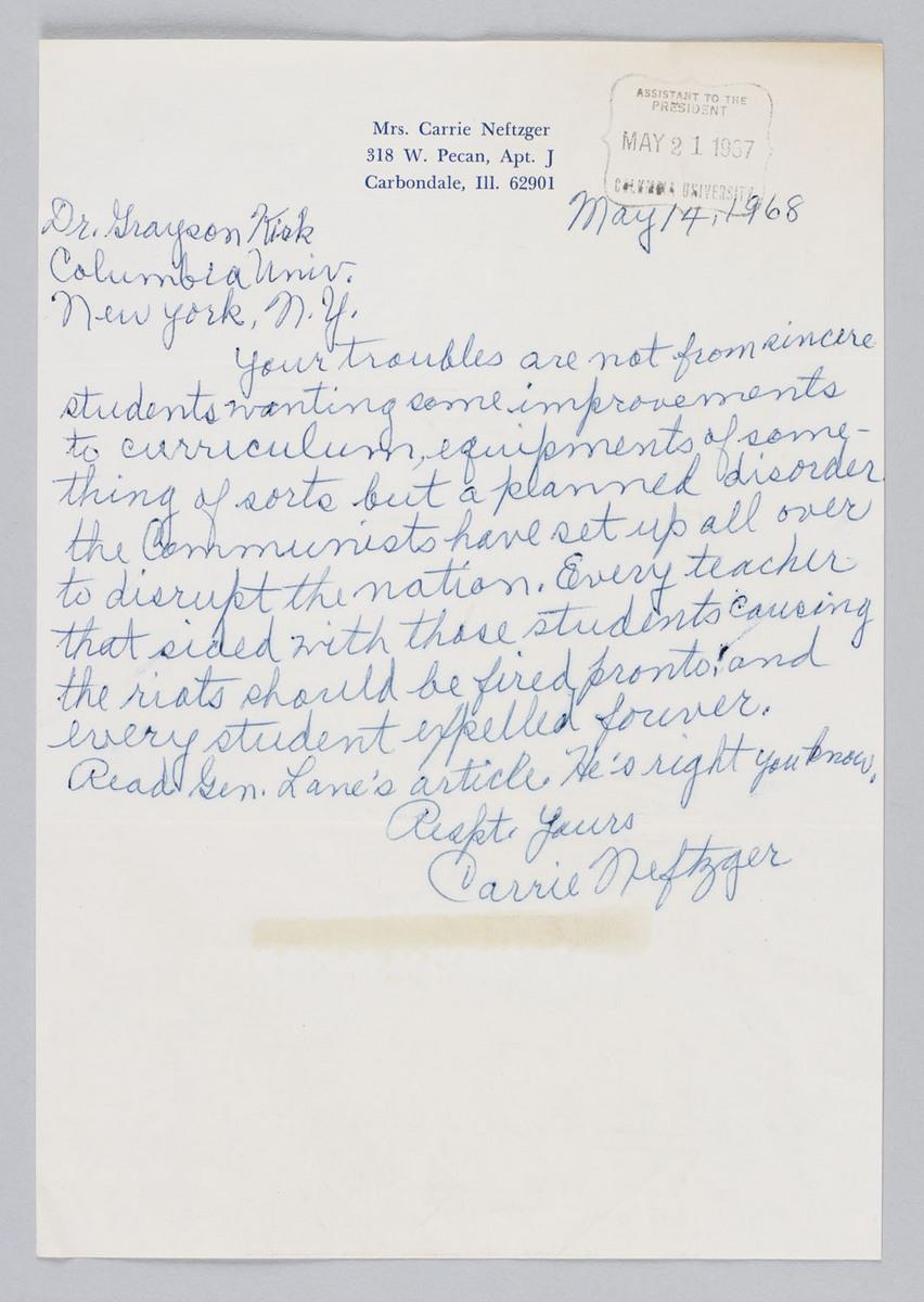 Letter to Kirk from Mrs. Carrie Neftzger