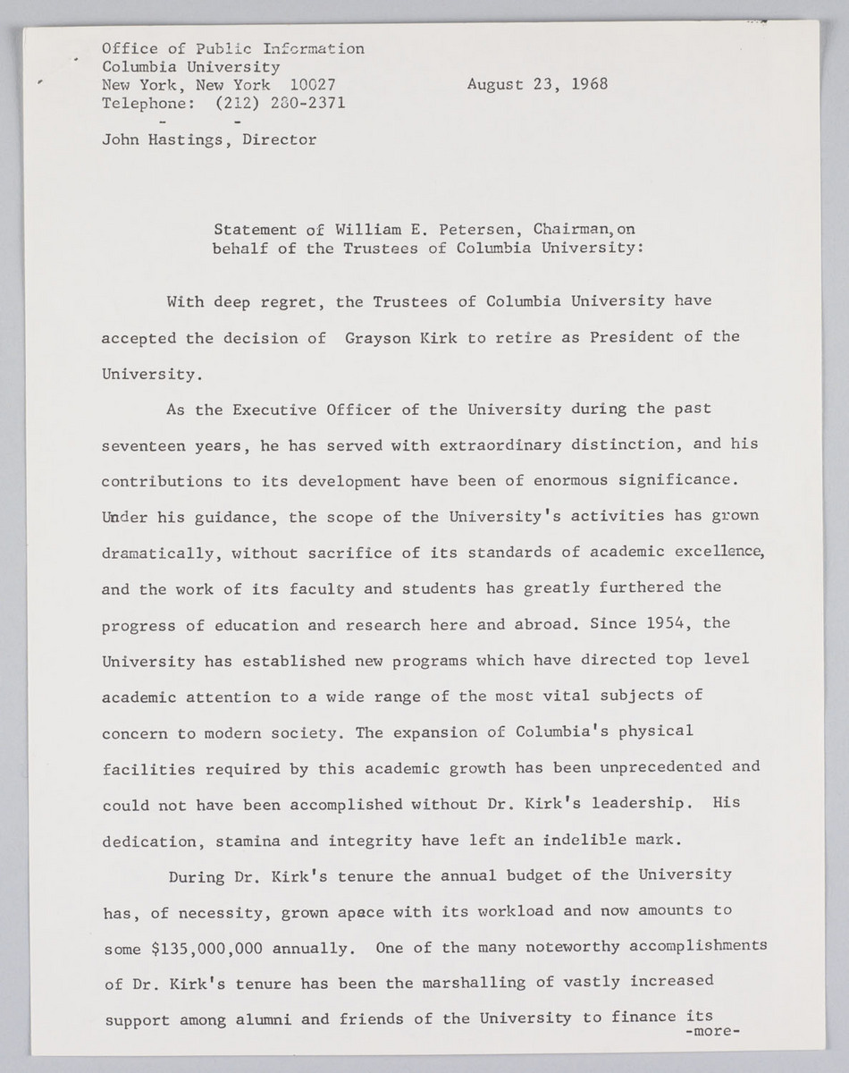 Press statement. 23/8/68. Grayson Kirk statement of resignation.