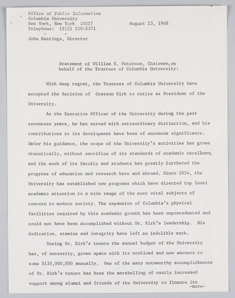 Press statement. 23/8/68. Grayson Kirk statement of resignation.