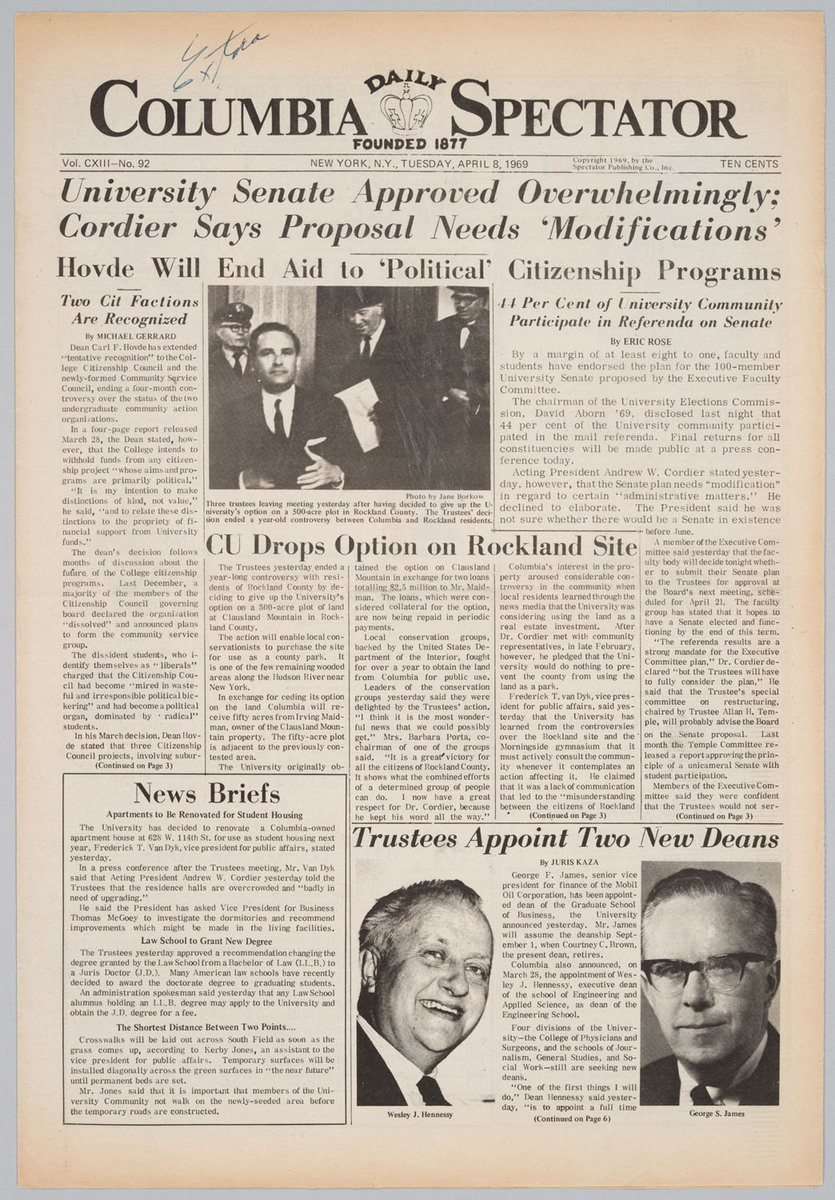 Columbia Daily Spectator, 4/8/69, p. 1 and 3