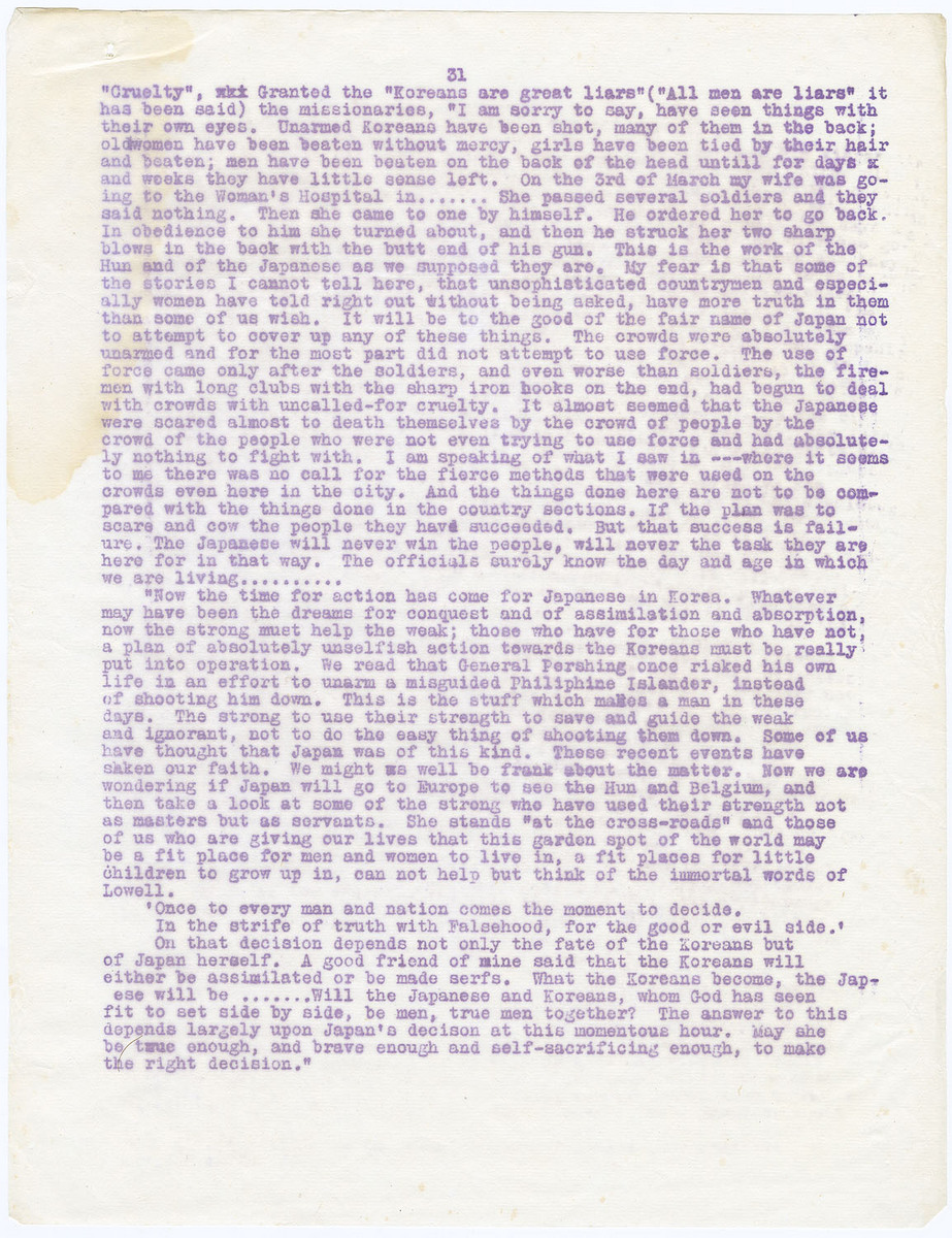 Following letter was sent to the Seoul Press representing the Japanese official view (cont.), (page 31)