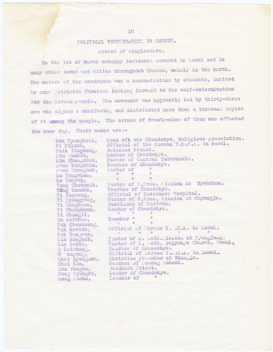 Political disturbance in Chosen; Arrest of ringleaders, (page 10)