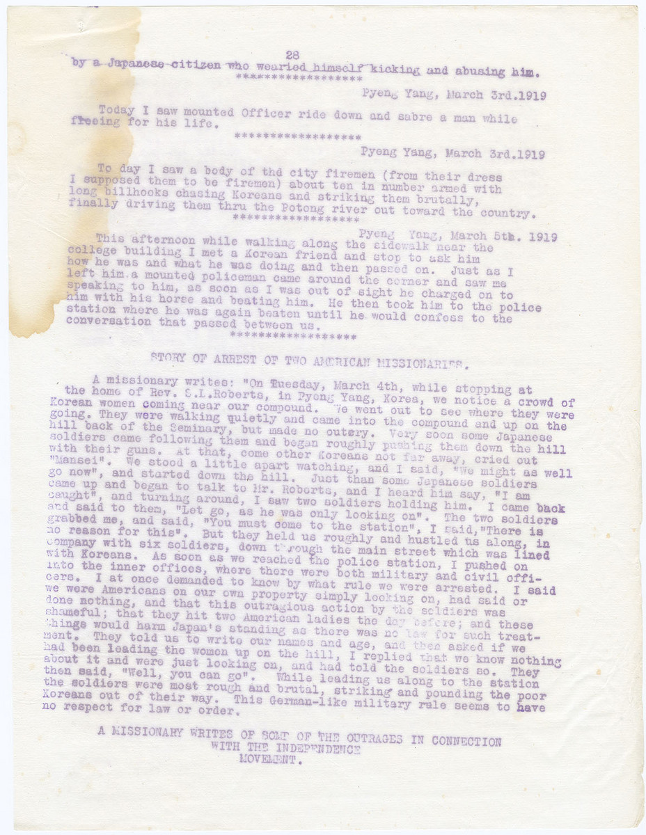 Story of arrest of two American missionaries; A missionary writes of some of the outrages, (page 28)