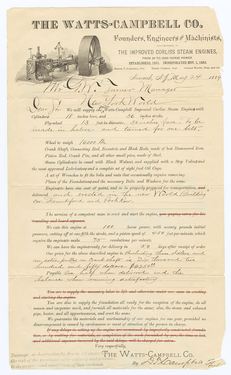 Printed and manuscript contract for one pair Watts-Campbell Improved Corliss Steam Engine