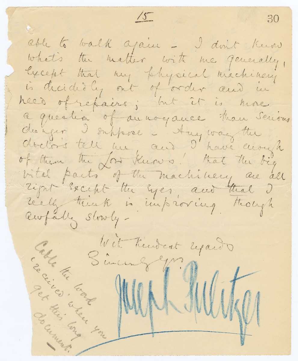 Manuscript letter with autograph notes, signed, to Turner, page 15