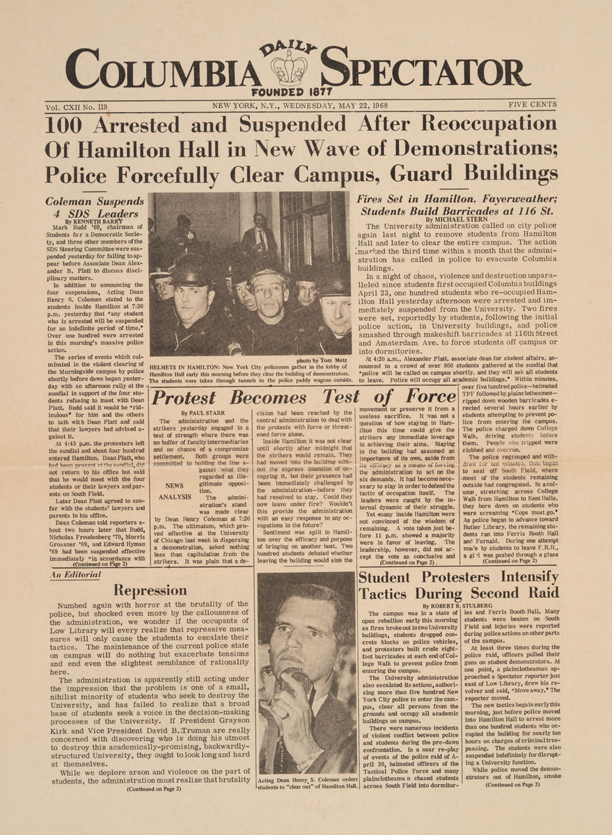 """100 Arrested and Suspended After Reoccupation of Hamilton Hall in New Wave of Demonstrations; Police Forcefully Clear Campus, Guard Buildings"""