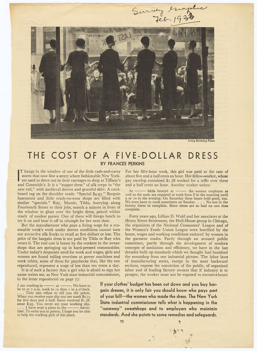 Cost of a Five-Dollar Dress, pages 75 through 78