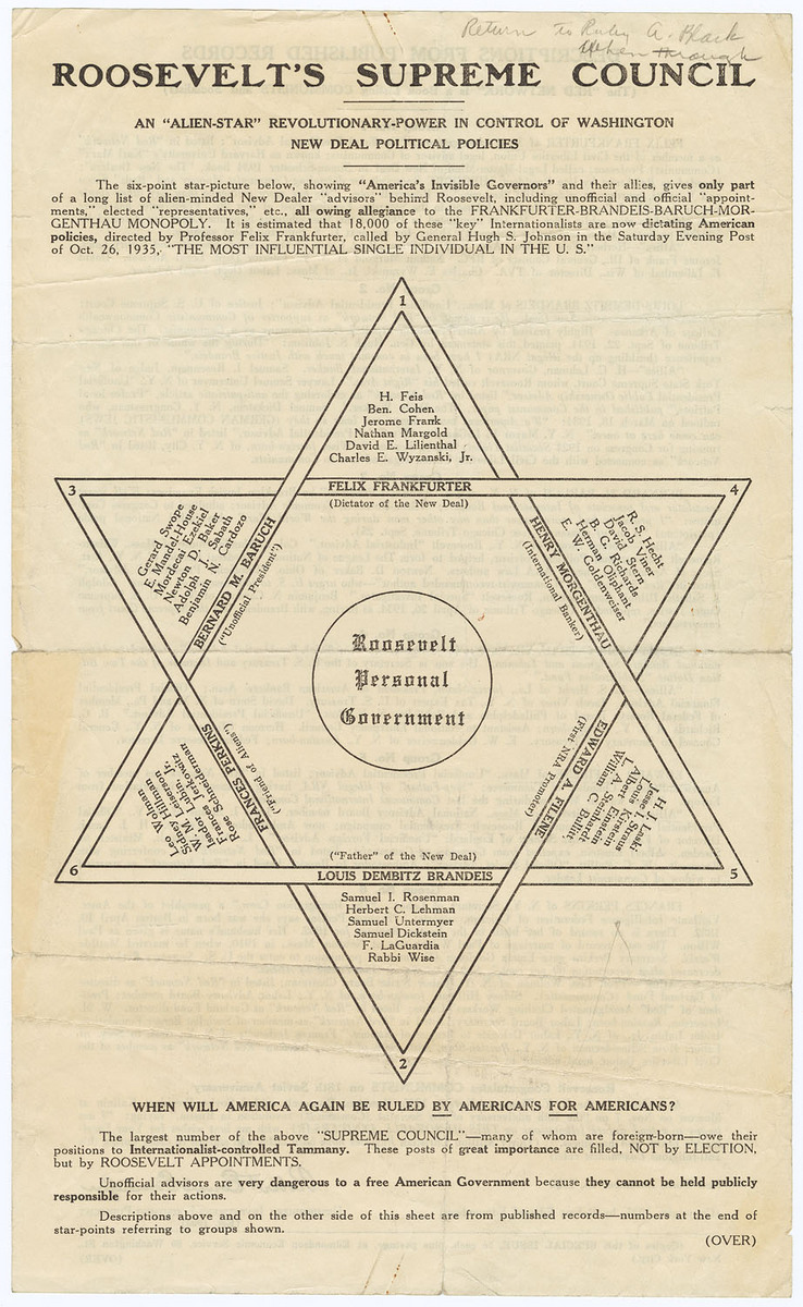 "Roosevelt's Supreme Council: An ""Alien-Star"" Revolutionary-Power in Control of Washington New Deal Political Policies"