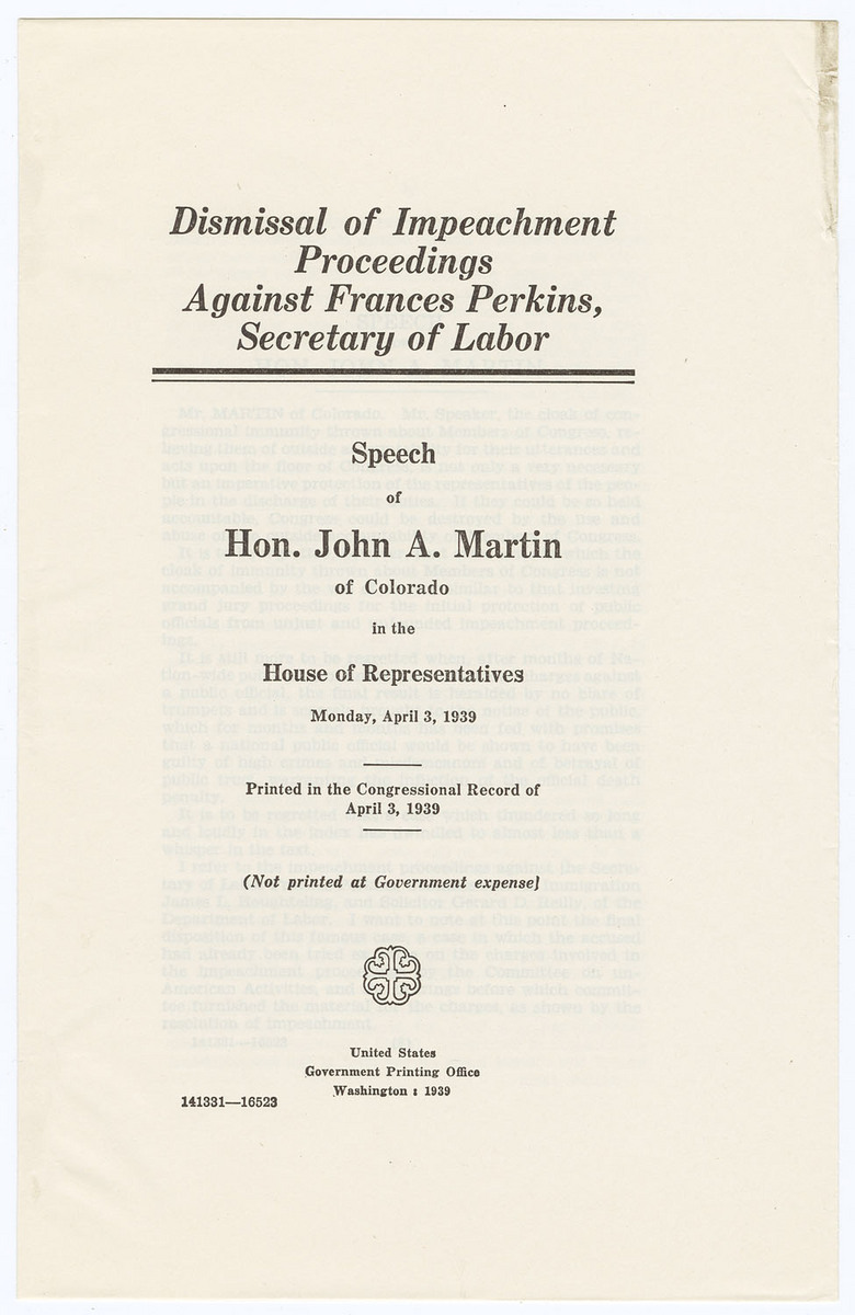 Dismissal of Impeachment Proceedings Against Frances Perkins, Secretary of Labor, cover and envelope
