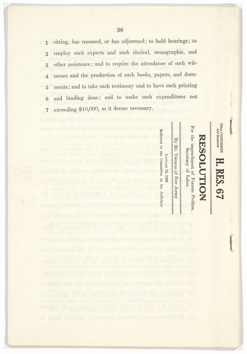 House Resolution 67: Resolution for the impeachment of Frances Perkins, Secretary of Labor, page 56