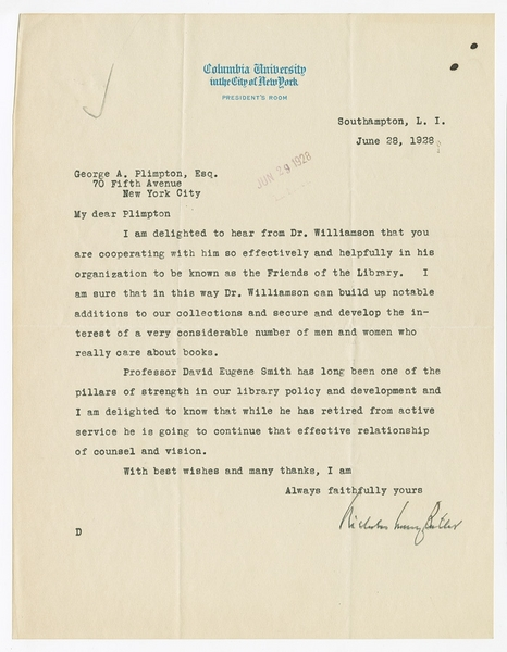 Letter to George Arthur Plimpton regarding  Friends of the Library