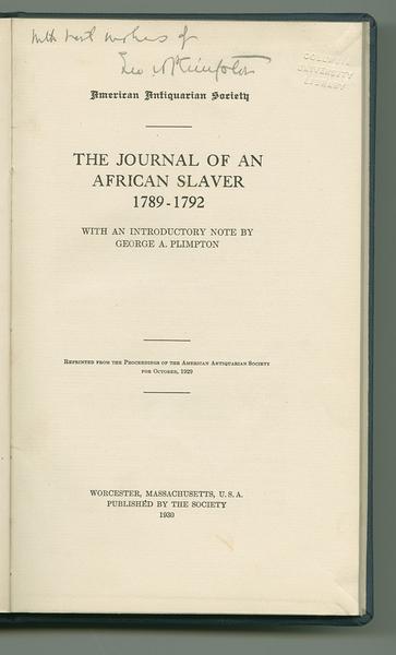 Journal of an African Slaver, 1789-1792