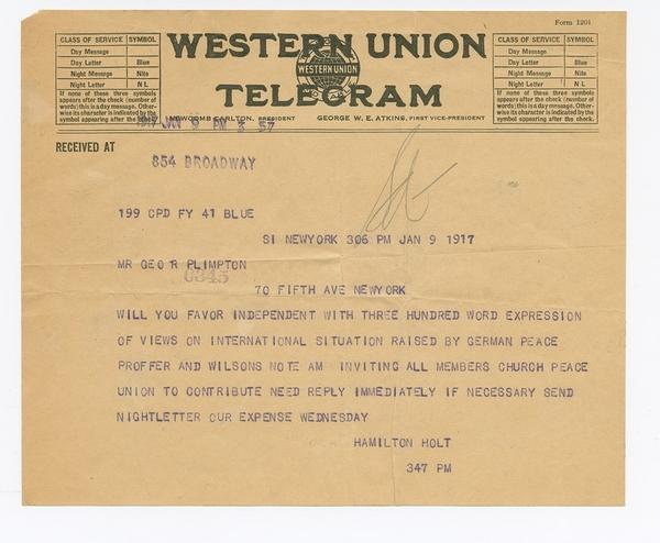 Telegram to George Arthur Plimpton, 9 January 1917