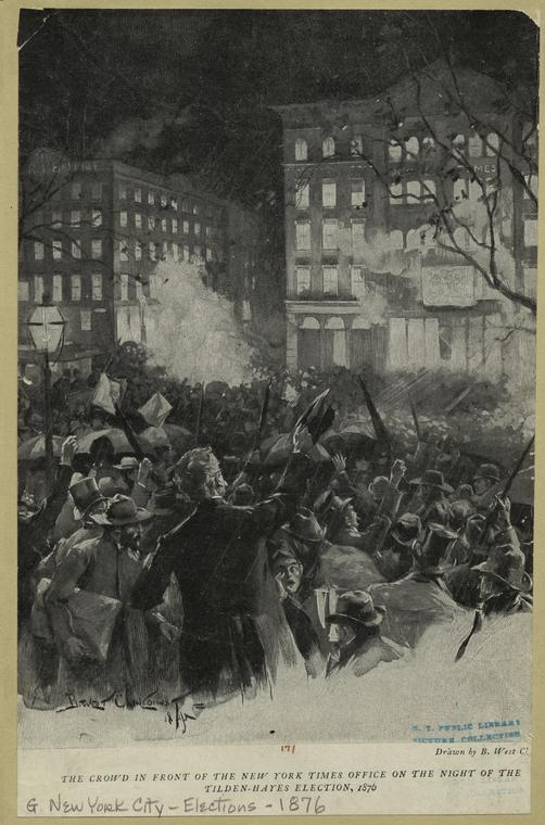 The crowd in front of the New York office on the night of the Tilden-Hayes election, 1876