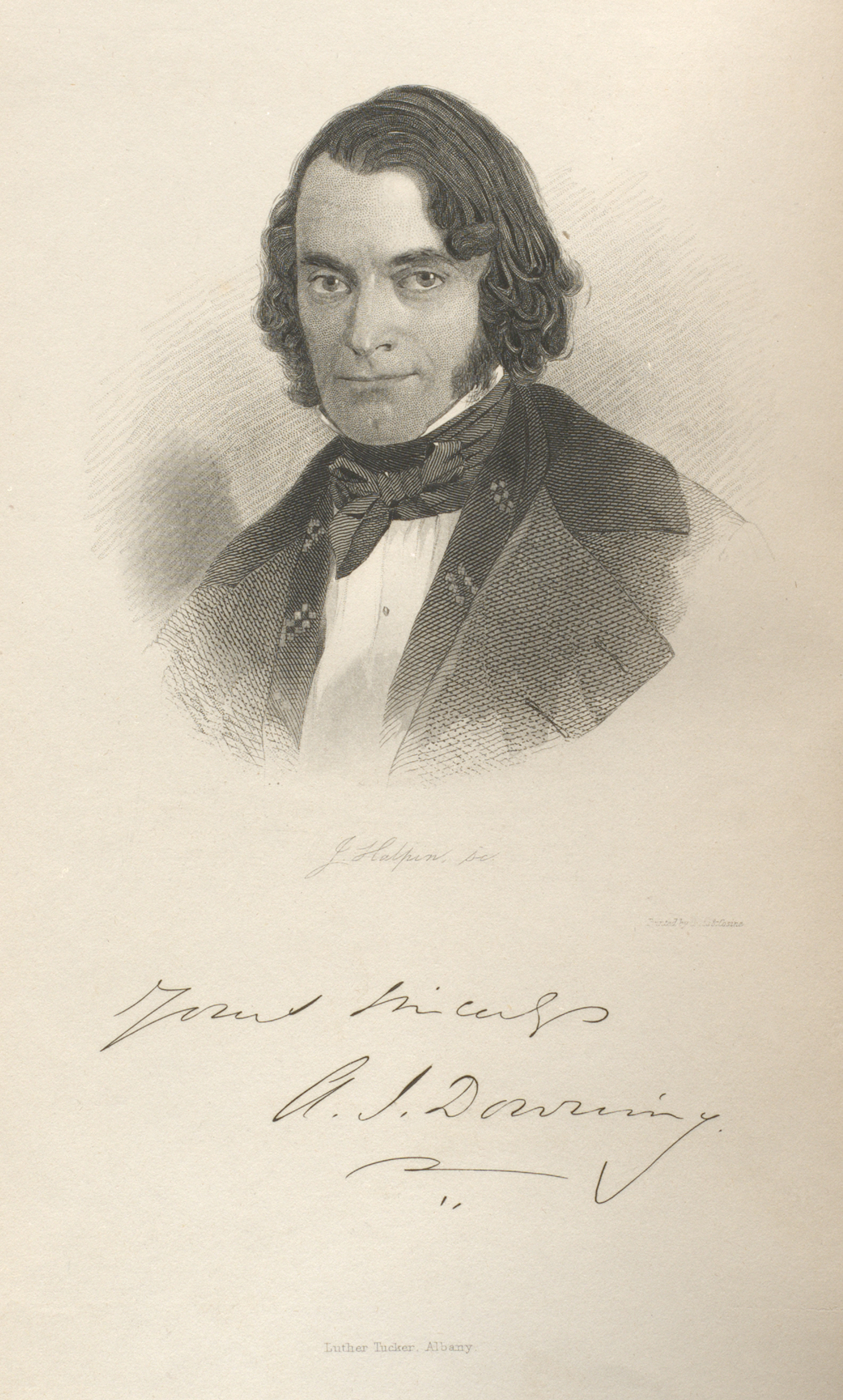 Frontispiece featuring a portrait of A. J. Downing, A treatise on the theory and practice of landscape gardening, 1859 from A.J. Downing & His Legacy exhibit. Columbia University Libraries. accessed 9-19-2016