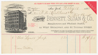 Bennett, Sloan & Co. Bill or receipt