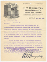 U.T. Hungerford Brass & Copper Co., letter