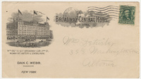 Broadway Central Hotel. Envelope