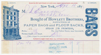 Howlett Brothers, bill or receipt