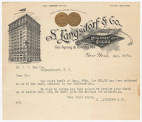 S. Langsdorf & Co., letter