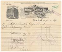Ambrose E. Barnes & Bro., bill or receipt