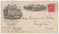 Broadway Central Hotel. Envelope
