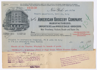 American Grocery Company, bill or receipt
