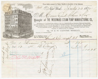 Woodward Steam Pump Manufacturing Co., bill or receipt