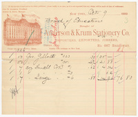 Anderson & Krum Stationery Co., bill or receipt