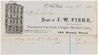 J. W. Fiske. Bill or receipt
