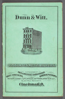 Specimen book of Dunn & Witt : manufacturers of ornamental galvanized iron cornices, louvers, dormer-windows, finials, balustrading, window caps, vanes, etc., : also, tin, iron, and slate roofers. Cover