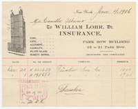 William Lohr, Dr., bill or receipt