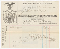 Baldwin the Clothier, bill or receipt