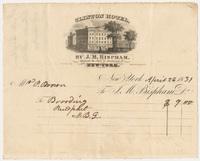 Clinton Hotel. Bill or receipt